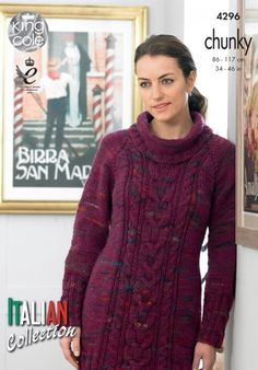Sweater Dress and Cardigan in King Cole Florence Chunky - 4296 - Leaflet. Discover more patterns by King Cole at LoveKnitting. We stock patterns, yarn, needles and books from all of your favourite brands.