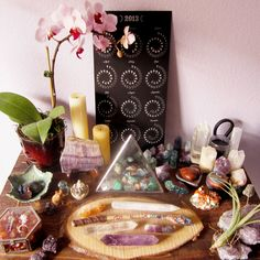 original text: witch-moon: my main altar after a bit of rearranging so i could make a home for my new orchid Lola. she already seems happy there. Meditation Corner, Meditation Altar, Meditation Space, Wicca, Magick, Witchcraft, Crystals And Gemstones, Stones And Crystals, Healing Crystals