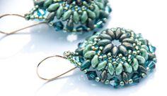 Turquoise Flower Earrings, Beaded, Boho, Green, Topaz, Milky Green, Circle Earrings, Bead Weaving, Mandala Earrings by seedbeadsofchange on Etsy