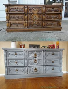 Gray Dresser   Before and After   Goodwill   Leopard print inside of drawers   Brass knobs   Brass pulls   Painted dresser   Repurpose   Storage   Style   Home   Love   DIY