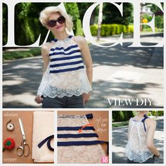 DIY Lace Tank with Ribbon Feature; this is cute- I would do it with a solid fabric though....kind of see through