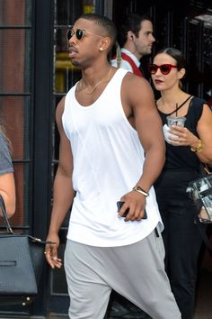 Pin for Later: 22 Michael B. Jordan Photos That Will Make You Feel All Tingly Inside The actor put his bulging muscles on display during a casual outing in NYC in August Chris Brown Fotos, Michael Bakari Jordan, Jordan Photos, Outfits Hombre, Handsome Black Men, Streetwear, Fine Men, Urban Outfits, Cute Guys