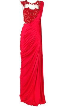 Red embroidered sari-gown available only at Pernia's Pop-Up Shop.