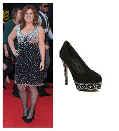Kelly Clarkson High Heel Black Pumps with Silver Studs