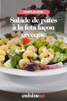 Une recette facile de salade de pâtes façon grecque à la feta. Elle peut être emportée en pique-nique par exemple. #recette#cuisine #salade #pates #feta #grec Facon, Potato Salad, Potatoes, Meat, Chicken, Ethnic Recipes, Al Dente, Pasta Salad, Chopped Salads