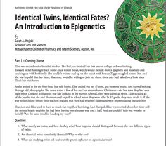 The case was designed to introduce the topic of epigenetics and would take place after students have studied in detail the structure of DNA, the processes of DNA replication, transcription, and translation, and eukaryotic transcriptional regulation. It was designed for a sophomore-level molecular biology course for majors and could easily be used in an undergraduate genetics course as well. http://sciencecases.lib.buffalo.edu/cs/files/epigenetics_notes.pdf