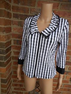 SAMUEL DONG Zip Front Top Size L Stretch 3/4 Sleeve Black/White #SamuelDong #KnitTop #Casual