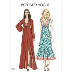 Vogue Misses' Dress Pattern 9311 from patterns and plains range of patterns for Women. Loose-fitting pull-over dresses have length and sleeve variations. Vogue Dress Patterns, Vogue Sewing Patterns, Sewing Summer Dresses, Maxi Dresses, Sew Your Own Clothes, Miss Dress, College Fashion, Holiday Dresses, Boho Dress