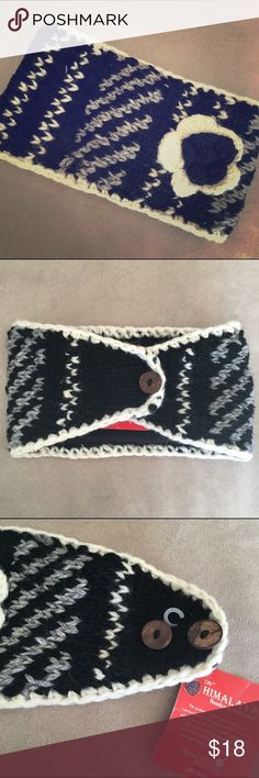 NWT-Wool Knit Adjustable Head Warp New with tags. A black, white, and grey 100% wool hand knit head wrap with adjustable buttons. Has a soft and warm fleece interior.  22 inches long (has a 2 inches of adjustability) by 5 inches wide (tapers down at back). Accessories Hats