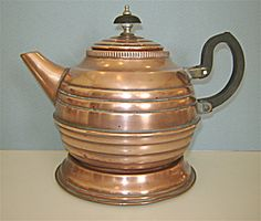 Vintage Copper Art Deco Tea Kettle Matching Trivet