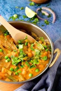 Chickpeas Vegetable korma / Instant Pot Veg Kurma recipe is a healthy Indian curry recipe. Vegan and Gluten free instant pot recipe.