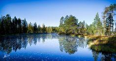 Blue, landscape shot from Tiilikkajärvi national park, Finland. Shot was taken 2011 fall. Landscape Photos, Landscape Photography, Finland, Trek, National Parks, River, Mountains, Fall, Nature