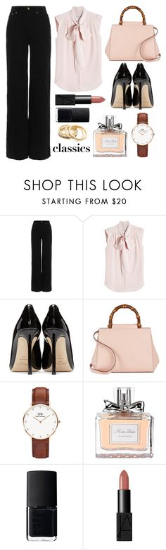 """Classics"" by chichismash ❤ liked on Polyvore featuring Zimmermann, MaxMara, Jimmy Choo, Gucci, Daniel Wellington, Christian Dior, NARS Cosmetics and Madewell"