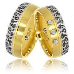 Verighete ATCOM Lux VOICHITA aur galben cu alb Aur, Bangles, Bracelets, Rings, Jewelry, Fashion, Moda, Jewlery, Bijoux