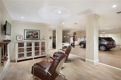 Garage with man cave