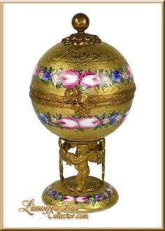 24K Gold Encrusted Floral Globe on Stand Limoges Box