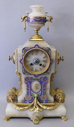 19TH CENTURY CHAMPLEVE ENAMEL CLOCK ORMOLU ENAMEL
