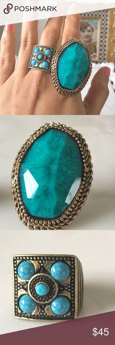 ⚜Vintage pair of 2 Rings Size 8- 81/2 Vintage Jewelry Rings