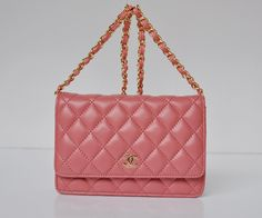 Chanel 2.55 Bags 33814 Lambskin Hot Pink With Gold Chain