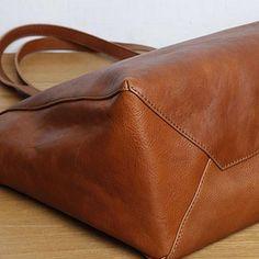 Handmade leather tote women handbag shoulder bag shopper bag