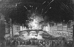 Ponte alla Carraia in una raffigurazione ottocentesca durante la festa di San Giovanni