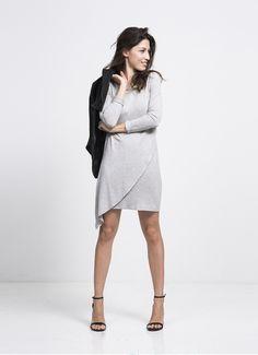 au lait | Premium Nursing Tops | The Asymmetrical Dress in Heather Grey | www.aulaitshop.com