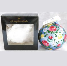 Christopher Radko Floral Suite Ball Christmas Ornament Original Box              http://www.rubylane.com/item/494613-rad6-bg3482/Christopher-Radko-Floral-Suite-Ball