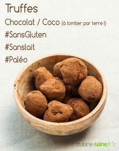 Truffes au chocolat et lait de coco sans gluten, sans lait et paléo