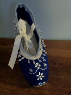 Decorated Pointe Shoes  Blue Diamonds