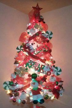 Arbol Navidad Color Blanco, Decoracion Rojo con Verde