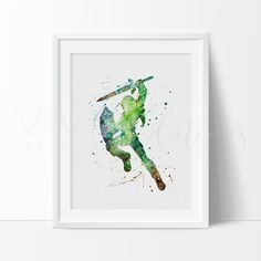 Link Legend of Zelda Watercolor Art Print Wall Decor