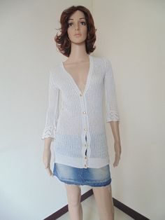 Vintage See Through Front Open Fancy Women Summer Sweater $12.00 ...