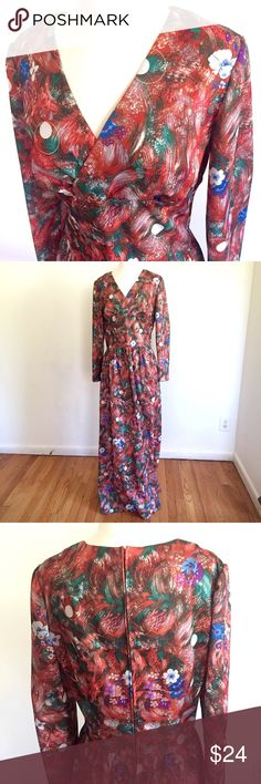 "Vintage 70s Floral Maxi Dress This looks to be a handmade vintage maxi dress circa 1970 or so. Empire waistline, plunging neckline, metal zip up back. Funky multicolor floral/abstract print. One of a kind! 30"" waist, 58"" length. Vintage Dresses Maxi"