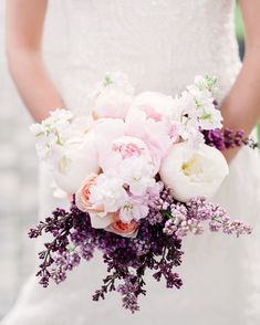 Brides: Blush Peony Bouquet with Lilac. New York City florist Blush Designs created this spring-inspired bouquet. Filled with white-and-blush peonies, fragrant lavender, and stock, this floral mix is filled with seasonable blooms. Peony Bouquet Wedding, Purple Wedding Bouquets, Bride Bouquets, Bridal Flowers, Flower Bouquets, Lilac Wedding, July Wedding, Unique Flowers, Wedding Anniversary