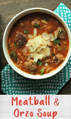 This soup is a take on the classic comfort food Spaghetti Orzo Soup, Spaghetti And Meatballs, Turkey Meatballs, Chilis, One Pot Meals, Kid Friendly Meals, Recipe Collection, Fruits And Veggies, Soups And Stews