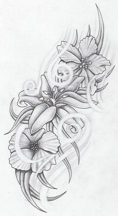 flowers by markfellows.devia… on – Tattoos Dope Tattoos, Music Tattoos, Pretty Tattoos, Leg Tattoos, Body Art Tattoos, Half Sleeve Tattoos Drawings, Ribbon Tattoos, Tattoos Skull, Stencils Tatuagem