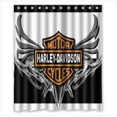 Nice New Rare Harley Davidson Wing Black White Shower