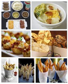Potato Bar - 3 kinds of potatoes - chips, baked and fries, with complimentary toppings... Great for Football Party