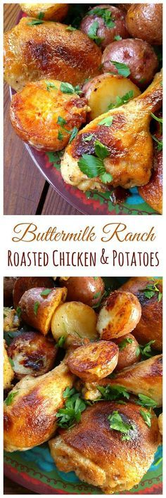 Homemade Buttermilk Ranch Roasted Chicken with Potatoes! These look absolutely delicious!  The perfect simple and quick weeknight dinner.