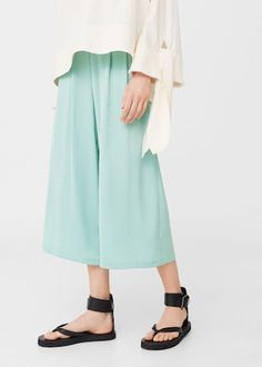 Flowy cropped trousers   MANGO