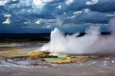 Free Image on Pixabay - Yellowstone'S Clepsydra Geyser Free Pictures, Wyoming, Niagara Falls, Basin, Royalty Free Images, Fountain, Waterfall, Aqua, Clouds