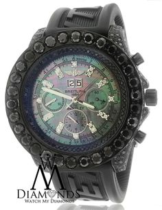 BLACK PVD BREITLING FOR BENTLEY 6.75 WATCH 18CT BLACK DIAMONDS ON RUBBER BAND