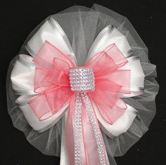 Coral Bling and White Sparkle Wedding Pew Bows Church Aisle Decorations