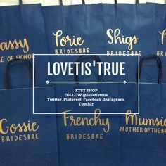 Gift Bags for Wedding Party. Buy a set of gift bags personalized. Personalized Gift Bags, Customized Gifts, Engraved Picture Frames, Gifts For Wedding Party, Party Gifts, Blue Gift, Addressing Envelopes, Wine Charms, Etsy Shop