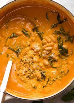 Creamy Tomato Bean Soup Pot of Creamy White Bean Soup White Bean Soup, White Beans, Soup Recipes, Cooking Recipes, Bean Recipes, Recipies, Healthy Recipes, Leafy Salad, Soup Beans