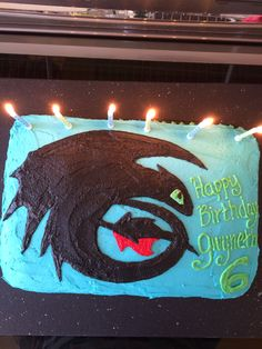 How to Train Your Dragon--Toothless silhouette birthday cake Dragon Birthday Cakes, Dragon Birthday Parties, Dragon Party, Birthday Fun, Birthday Party Themes, Birthday Ideas, Toothless Party, Toothless Cake, Train Dragon