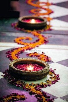 Here are some DIY Wedding Decor ideas for an intimate day wedding using rose petals, marigold petals and candles.    #Intimatewedding #lockdownwedding #shaadisaga #indianweddings #diyweddingdecor #diyweddingdecoronbudget #floraldecor #candledecor #lightsdecor #gendaphool #marigoldflowerdecor  Diwali Decoration Lights, Diya Decoration Ideas, Diwali Decorations At Home, Indian Wedding Decorations, Flower Decorations, Decor Ideas, Ceremony Decorations, Indian Wedding Flowers, Indian Decoration