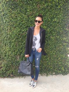Jamie Chung wearing Reese + Riley Vixen hooded blazer AG Adriano Goldschmied The Legging Ankle Jeans Kate Spade Saturday Leather Oxfords in Metallic Silver Kate Spade Saturday The A Satchel in Black Brogues Womens Outfit, Oxford Shoes Outfit, Tennis Shoes Outfit, Jean Outfits, Fall Outfits, Casual Outfits, Casual Jeans, Silver Brogues, Feminine Fashion