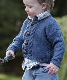 Free Knitting Pattern for All Grown Up Cardigan - This baby and child sweater features cable detail at the button band, side seams, and sleeves for a touch of grown up style. Sizes 1 to 6 years. Designed by Lisa Ellis