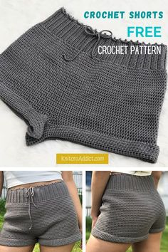 Crochet Shorts (Free Pattern XS-XXL) How to crochet your own pair with this beginner friendly written pattern and step by step video tutorial. Mode Crochet, Crochet Diy, Crochet Woman, Tutorial Crochet, Crochet Mask, Easy Crochet Projects, Crochet For Boys, Crochet Motif, Crochet Stitches